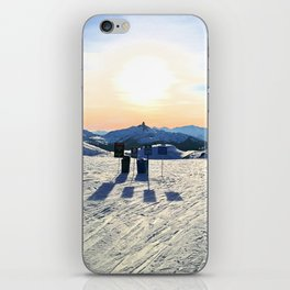 The snow, signs, shadows, sun, sky - and the surrounding! iPhone Skin