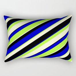 Blue, Light Green, Light Yellow & Black Colored Lined/Striped Pattern Rectangular Pillow