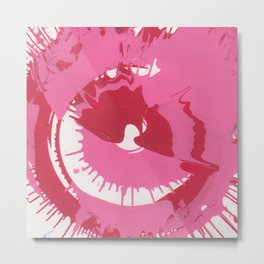 Pink and Red Splatter Metal Print