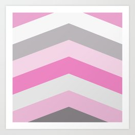 Pink and gray chevron Art Print