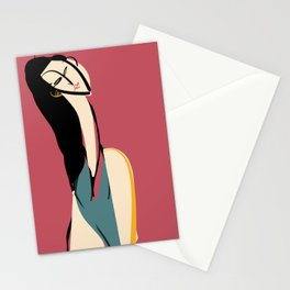 The girl in rouge Stationery Cards