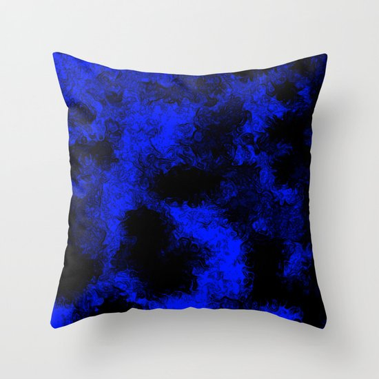 Blue neon and black modern decorative abstract design Throw Pillow by Anka Society6