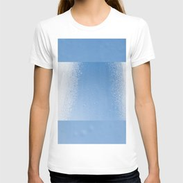 Water condensation on window and freezing snow T-shirt