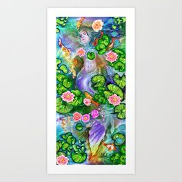 Mermaid in the lily pond Art Print