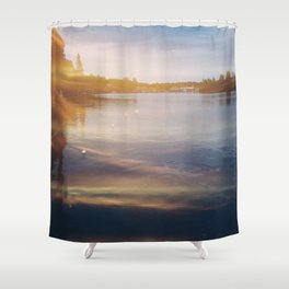 Leaking sunshine across the lake Shower Curtain
