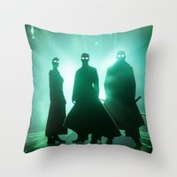 matrix Throw Pillows featuring The Matrix by Mikko