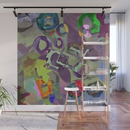 Living In A Purple Dream - Abstract, eclectic, random, purple. lilac, pastel artwork Wall Mural