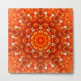 Orange Floral Abstract Tile 48 Metal Print