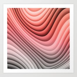 Plush Abstract Folds in Warm Peach, Coral & Gray Art Print