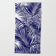 Modern blue tropical palm trees pattern Beach Towel