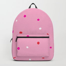 confetti dots: pink red & white Backpack