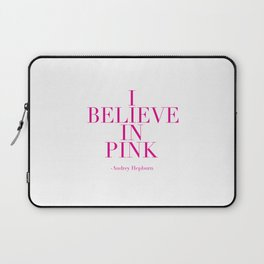 printable poster,audrey hepburn,i believe in pink,girly,fashion,girls room decor,quote prints Laptop Sleeve