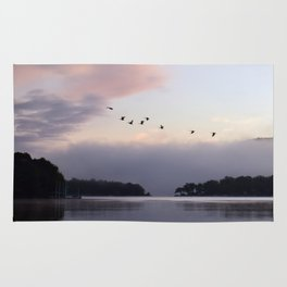 Uplifting III: Geese Rise at Dawn on Lake George Rug