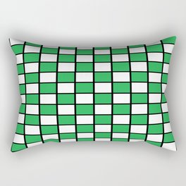 Checkered Outlined Green and Black Rectangular Pillow