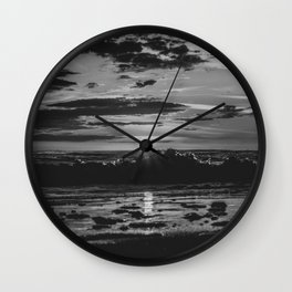 Sunset North Sea Waves Reflections Denmark Bjerregard Beach 8 bw Wall Clock