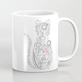 Black Cat on White World Coffee Mug
