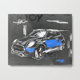 Scribble mini car on chalkboard Metal Print