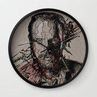 rick grimes Wall Clocks featuring Rick Grimes The Walking Dead by Teva Mana