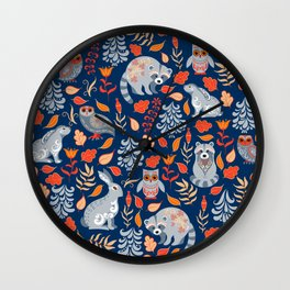 Fairy forest with animals and birds. Raccoons, owls, bunnies and little chick. Wall Clock