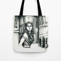 les miserables Tote Bags featuring Les Miserables Portrait Series - Eponine by Flávia Marques