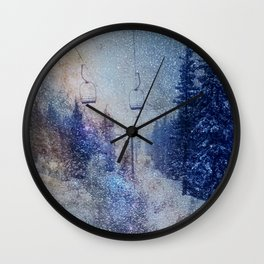 Chairlift into the Universe // Milky Way Galaxy Snowboarding Snow Nebula Stars Mixed Media Popart Wall Clock