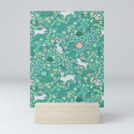 Spring Pattern of Bunnies with Turtles Mini Art Print