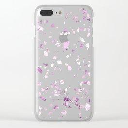 Raspberry Pink Quartz Terrazzo Clear iPhone Case