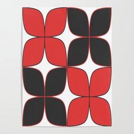 Mid-Century Modern Art - Flower Pattern Black Red Poster
