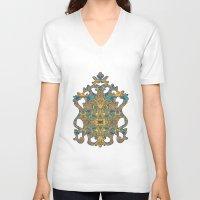 arabic V-neck T-shirts featuring Arabic Marigold by GEETIKAGULIA