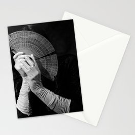 The white folding fan Stationery Cards