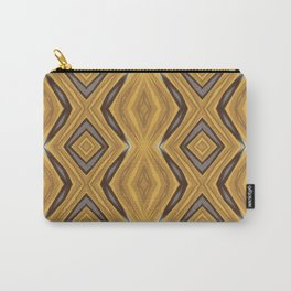 Yellow , Ochre and Brown Diamond Pattern Carry-All Pouch