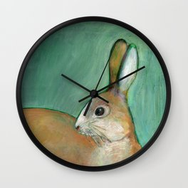 Portrait of a Nut Brown Hare Wall Clock