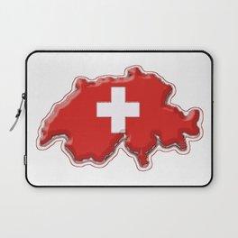 Switzerland Map with Swiss Flag Laptop Sleeve