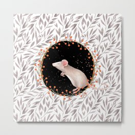 Beautiful nosey Mouse with flower backround- Animal- child -mice- flowers Metal Print
