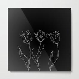 Floral line drawing - Three Tulips Black Metal Print