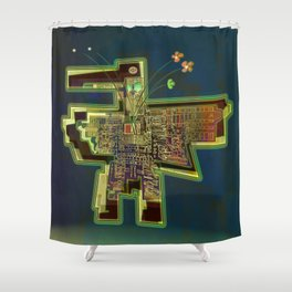 Good Vibes from the Robotic City Lab Shower Curtain
