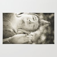 buddhism Area & Throw Rugs featuring Buddha in Sukhothai by Maria Heyens