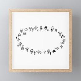 Pixie Ring Illustration— Fairy Ring Design — Mushroom Circle Drawing — Elf Circle Design Framed Mini Art Print