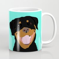 rottweiler Mugs featuring Rottweiler graphic on Mint by Moni & Dog