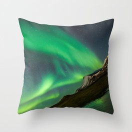Aurora Borealis - Northern Lights over Iceland Throw Pillow