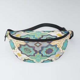 Marrakesh gold and blue geometry inspiration Fanny Pack