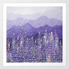 Purple Mountain Rain Art Print