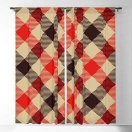 Tan Plaid with Diagonal Red and Black Stripes. Large-Scale Checkered Pattern. Blackout Curtain