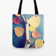 Autumn Birch Leaves and Twigs Tote Bag