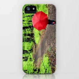 rainy woods iPhone Case
