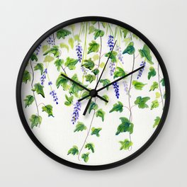 Ivy and Lavender Watercolor Wall Clock
