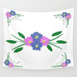 Painted Vintage Flowers Wall Tapestry