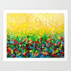 NATURE'S LIVING ROOM - Gorgeous Bright Bold Nature Wildflower Field Landscape Abstract Art New 2012 Art Print