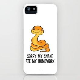 Funny Snake Pet Kids Son Daughter School Snake Ate Homework iPhone Case