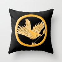 mockingjay Throw Pillows featuring Mockingjay by AriesNamarie